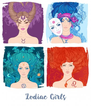 Illustration for Zodiac girls set: vector illustration of astrological signs as a beautiful girls - Royalty Free Image