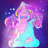 Peace and Love Colorful Buddha in rainbow glasses listening to music in headphones Vector illustration Hippie peace sign on sunglasses Psychedelic mushrooms Buddhism trance music Esoteric art