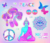 Psychedelic sticker set: trippy mushrooms peace sign acid Buddha butterflies all-seeing eye mandala Patch badges with stoned trippy drug elements in cartoon comic style Pop art patches pins