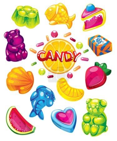 Illustration pour Gelée bonbons vecteur doux ensemble - image libre de droit