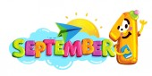 September 1 Back to school logo on isolated white background Cartoon character and colorful letters on the clouds and the sun and paper airplane vector illustration