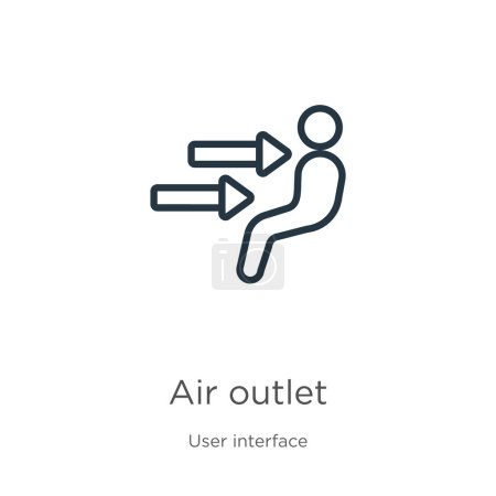Illustration for Air outlet icon. Thin linear air outlet outline icon isolated on white background from user interface collection. Line vector air outlet sign, symbol for web and mobile - Royalty Free Image