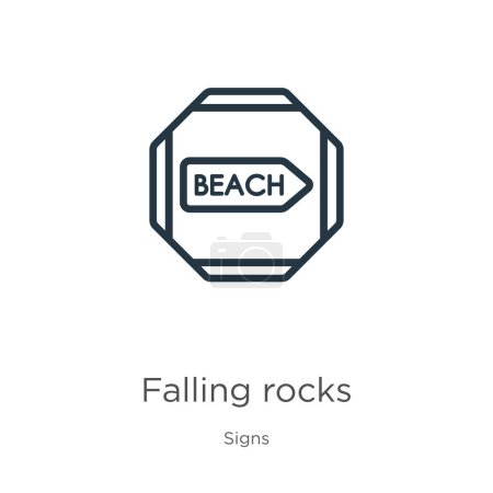 Illustration for Falling rocks icon. Thin linear falling rocks outline icon isolated on white background from signs collection. Line vector falling rocks sign, symbol for web and mobile - Royalty Free Image