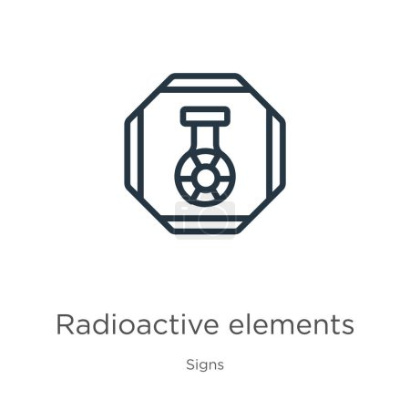 Illustration for Radioactive elements icon. Thin linear radioactive elements outline icon isolated on white background from signs collection. Line vector radioactive elements sign, symbol for web and mobile - Royalty Free Image