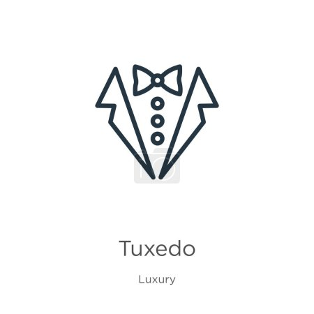 Illustration for Tuxedo icon. Thin linear tuxedo outline icon isolated on white background from luxury collection. Line vector tuxedo sign, symbol for web and mobile - Royalty Free Image