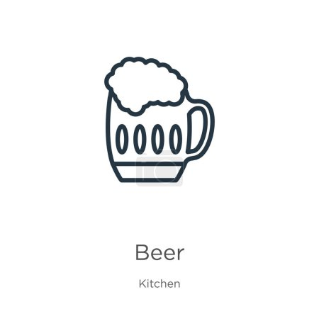 Illustration for Beer icon. Thin linear beer outline icon isolated on white background from kitchen collection. Line vector beer sign, symbol for web and mobile - Royalty Free Image
