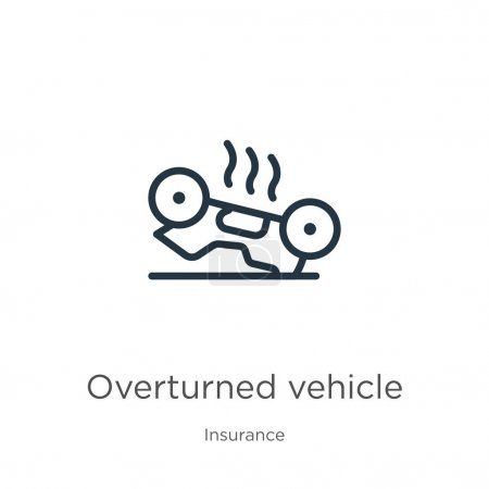 Illustration for Overturned vehicle icon. Thin linear overturned vehicle outline icon isolated on white background from insurance collection. Line vector overturned vehicle sign, symbol for web and mobile - Royalty Free Image