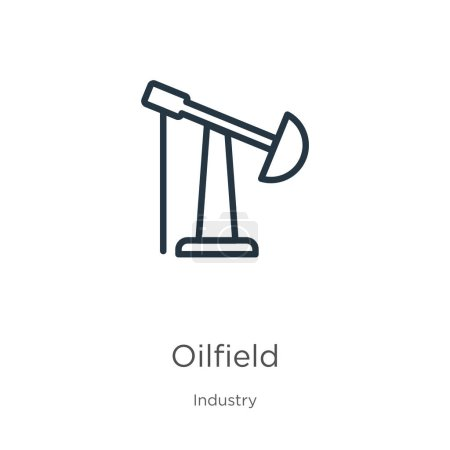 Illustration for Oilfield icon. Thin linear oilfield outline icon isolated on white background from industry collection. Line vector oilfield sign, symbol for web and mobile - Royalty Free Image