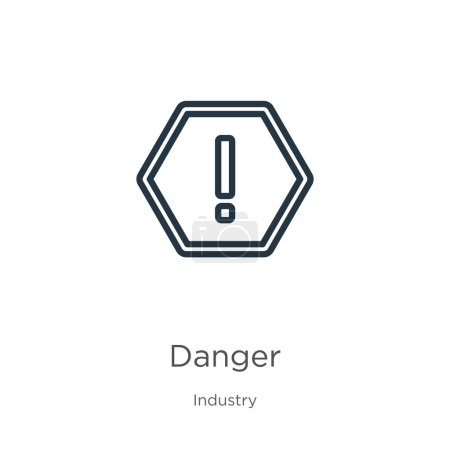Illustration for Danger icon. Thin linear danger outline icon isolated on white background from industry collection. Line vector danger sign, symbol for web and mobile - Royalty Free Image