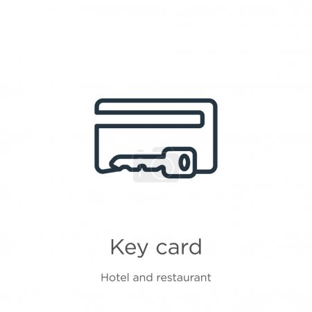 Key card icon. Thin linear key card outline icon i...