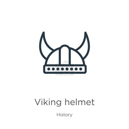 Illustration for Viking helmet icon. Thin linear viking helmet outline icon isolated on white background from history collection. Line vector viking helmet sign, symbol for web and mobile - Royalty Free Image