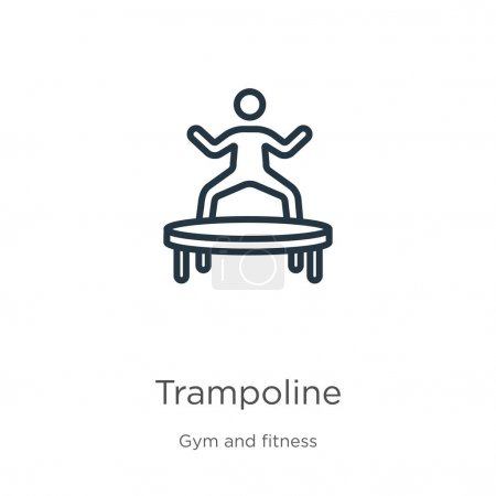 Illustration for Trampoline icon. Thin linear trampoline outline icon isolated on white background from gym and fitness collection. Line vector trampoline sign, symbol for web and mobile - Royalty Free Image