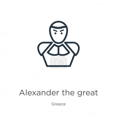 Alexander the great icon. Thin linear alexander the great outline icon isolated on white background from greece collection. Line vector alexander the great sign, symbol for web and mobile