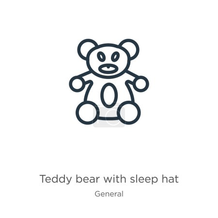 Illustration for Teddy bear with sleep hat icon. Thin linear teddy bear with sleep hat outline icon isolated on white background from general collection. Line vector teddy bear with sleep hat sign, symbol for web and - Royalty Free Image