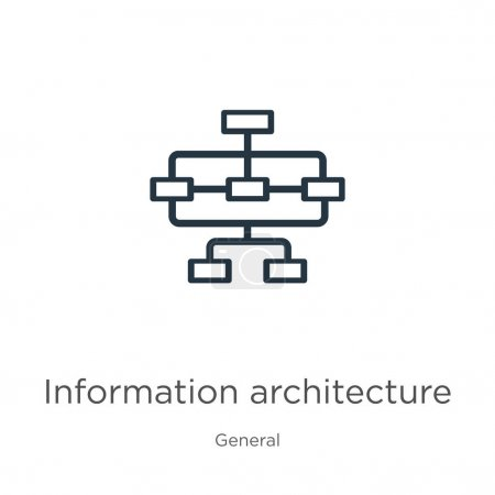Illustration for Information architecture icon. Thin linear information architecture outline icon isolated on white background from general collection. Line vector information architecture sign, symbol for web and - Royalty Free Image