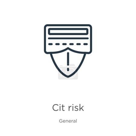 Illustration for Credit risk icon. Thin linear credit risk outline icon isolated on white background from general collection. Line vector credit risk sign, symbol for web and mobile - Royalty Free Image