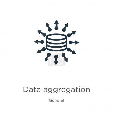 Illustration for Data aggregation icon. Thin linear data aggregation outline icon isolated on white background from general collection. Line vector data aggregation sign, symbol for web and mobile - Royalty Free Image