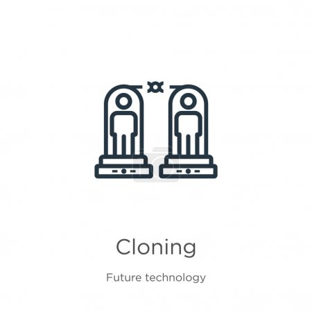 Illustration for Cloning icon. Thin linear cloning outline icon isolated on white background from future technology collection. Line vector cloning sign, symbol for web and mobile - Royalty Free Image
