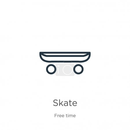 Illustration for Skate icon. Thin linear skate outline icon isolated on white background from free time collection. Line vector skate sign, symbol for web and mobile - Royalty Free Image