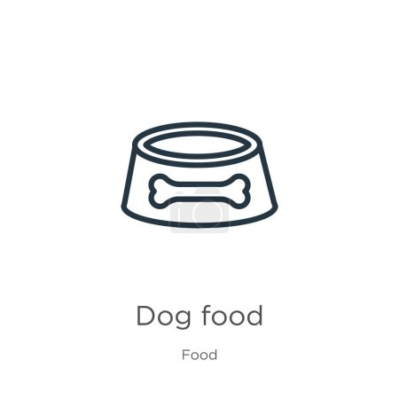 Illustration for Dog food icon. Thin linear dog food outline icon isolated on white background from food collection. Line vector dog food sign, symbol for web and mobile - Royalty Free Image
