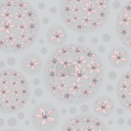 Illustration for Vector pink flower grey boobles background seamless pattern print. Perfect for textile, book covers, wallpapers, design, graphic art, printing, hobby, invitation, scrapbooking. Hand drawn. - Royalty Free Image