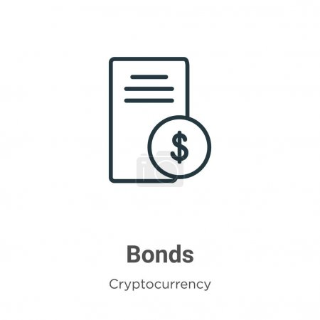 Bonds outline vector icon. Thin line black bonds icon, flat vector simple element illustration from editable economyandfinance concept isolated on white background