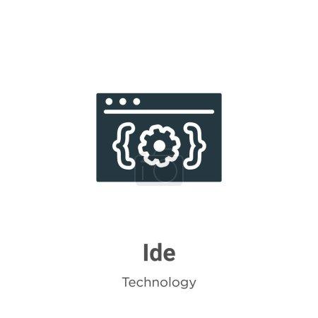 Illustration pour Ide glyphe icône vecteur sur fond blanc. Symbole d'icône vectoriel plat ide de la collection de technologie moderne pour la conception de concepts mobiles et d'applications Web . - image libre de droit
