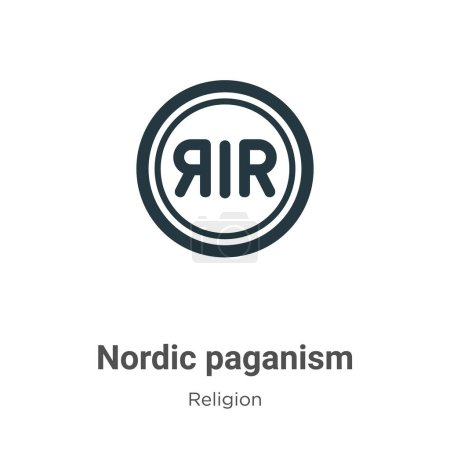 Nordic paganism glyph icon vector on white backgro...