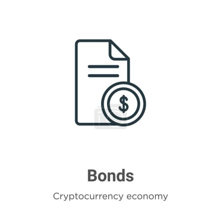 Bonds outline vector icon. Thin line black bonds icon, flat vector simple element illustration from editable cryptocurrency economy and finance concept isolated stroke on white background