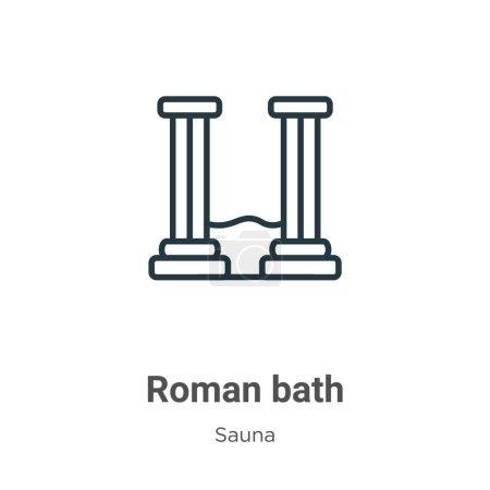 Bain romain contour icône vectorielle. Ligne mince icône de bain romain noir, vecteur plat illustration d'élément simple du concept de sauna modifiable course isolée sur fond blanc