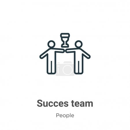 Succès équipe contour icône vectorielle. mince ligne noir succes équipe icône, plat vecteur élément simple illustration de modifiable personnes concept isolé coup sur fond blanc