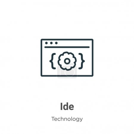 Illustration pour Icône de contour vectoriel. Icône mince côté noir, vecteur plat illustration d'élément simple du concept de technologie modifiable course isolée sur fond blanc - image libre de droit