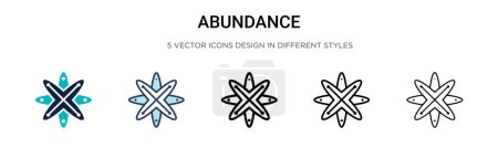 Illustration for Abundance icon in filled, thin line, outline and stroke style. Vector illustration of two colored and black abundance vector icons designs can be used for mobile, ui, web - Royalty Free Image