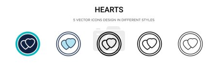 Illustration for Hearts icon in filled, thin line, outline and stroke style. Vector illustration of two colored and black hearts vector icons designs can be used for mobile, ui, web - Royalty Free Image