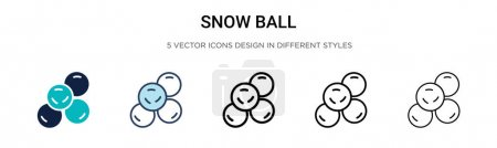 Illustration for Snow ball icon in filled, thin line, outline and stroke style. Vector illustration of two colored and black snow ball vector icons designs can be used for mobile, ui, web - Royalty Free Image