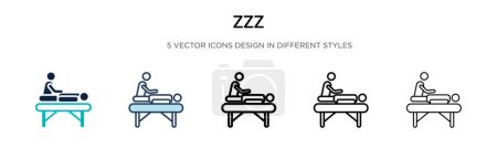 Illustration for Zzz icon in filled, thin line, outline and stroke style. Vector illustration of two colored and black zzz vector icons designs can be used for mobile, ui, web - Royalty Free Image