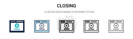 Illustration for Closing icon in filled, thin line, outline and stroke style. Vector illustration of two colored and black closing vector icons designs can be used for mobile, ui, web - Royalty Free Image