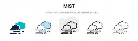 Illustration for Mist icon in filled, thin line, outline and stroke style. Vector illustration of two colored and black mist vector icons designs can be used for mobile, ui, web - Royalty Free Image