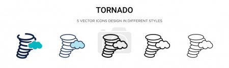 Illustration for Tornado icon in filled, thin line, outline and stroke style. Vector illustration of two colored and black tornado vector icons designs can be used for mobile, ui, web - Royalty Free Image