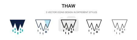 Illustration for Thaw icon in filled, thin line, outline and stroke style. Vector illustration of two colored and black thaw vector icons designs can be used for mobile, ui, web - Royalty Free Image