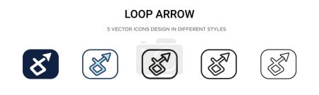 Illustration for Loop arrow icon in filled, thin line, outline and stroke style. Vector illustration of two colored and black loop arrow vector icons designs can be used for mobile, ui, web - Royalty Free Image