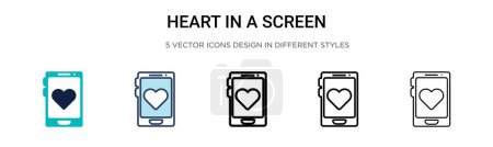 Illustration for Heart in a screen icon in filled, thin line, outline and stroke style. Vector illustration of two colored and black heart in a screen vector icons designs can be used for mobile, ui, web - Royalty Free Image
