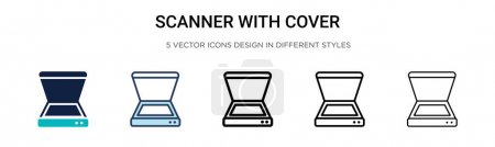 Illustration for Scanner with cover icon in filled, thin line, outline and stroke style. Vector illustration of two colored and black scanner with cover vector icons designs can be used for mobile, ui, web - Royalty Free Image