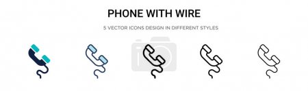 Illustration for Phone with wire icon in filled, thin line, outline and stroke style. Vector illustration of two colored and black phone with wire vector icons designs can be used for mobile, ui, web - Royalty Free Image
