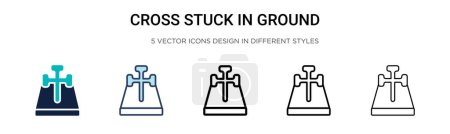 Illustration for Cross stuck in ground icon in filled, thin line, outline and stroke style. Vector illustration of two colored and black cross stuck in ground vector icons designs can be used for mobile, ui, web - Royalty Free Image