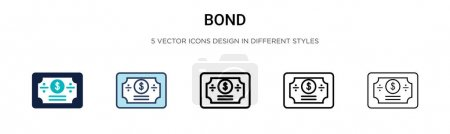 Bond icon in filled, thin line, outline and stroke style. Vector illustration of two colored and black bond vector icons designs can be used for mobile, ui, web