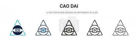Cao dai icon in filled, thin line, outline and str...