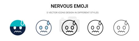 Nervous emoji icon in filled, thin line, outline and stroke style. Vector illustration of two colored and black nervous emoji vector icons designs can be used for mobile, ui, web