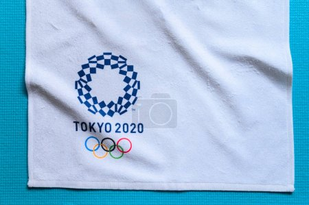 Photo for TOKYO, JAPAN, JANUARY. 20. 2020: Olympic background, Tokyo 2020 logo, white edit space - Royalty Free Image