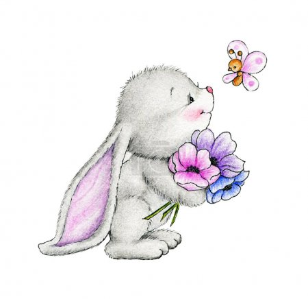 Photo pour Mignon lapin et papillon isolé sur fond blanc - image libre de droit